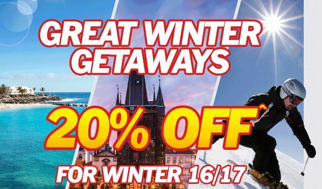 Jet2 Winter Getaways with 20% off.
